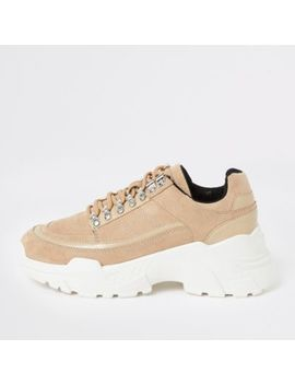 Beige Hiker Chunky Trainers by River Island