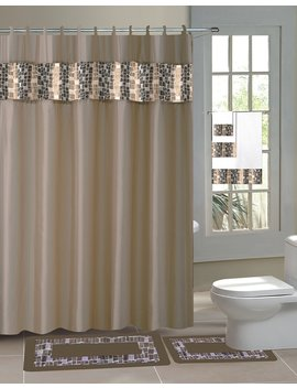 15 Piece Hotel Bathroom Sets   2 Non Slip Bath Mats Rugs Fabric Shower Curtain 12 Hooks Taupe Mosaic by Sam