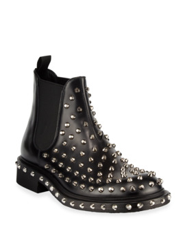 Men's Tronchetti Studded Leather Chelsea Boots by Prada