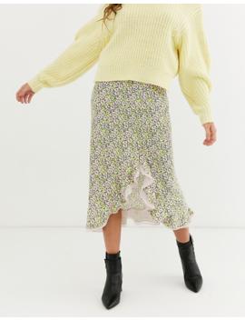 Asos Design Daisy Ruffle Side Midi Skirt by Asos Design