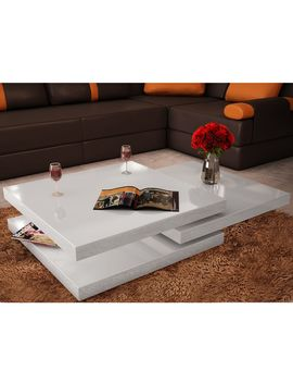 Coffee Table 3 Tiers High Gloss White by Elenxs