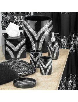 5 Piece Bathroom Accessory Set, Sinatra Silver By Sweet Home Collection by Sweet Home Collection