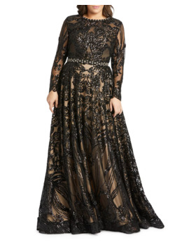 Plus Size Sequin Long Sleeve Novelty Burnout Gown by Mac Duggal