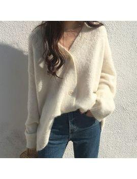 Glen Glam   Long Sleeve V Neck Buttoned Sweater by Glen Glam
