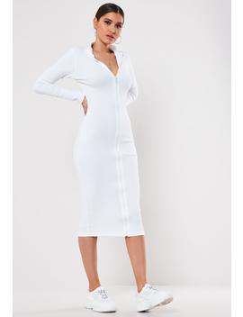 White Rib High Neck Zip Through Midi Dress by Missguided