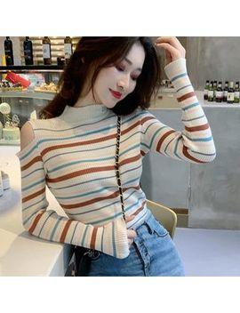 Ginger Girl   Cold Shoulder Striped Long Sleeve T Shirt by Ginger Girl