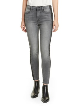 Le High Skinny Coated Tuxedo Shadow Ankle Jeans by Frame