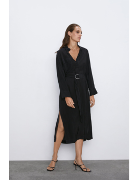 Crinkle Effect Belted Dress View All Dresses Woman by Zara