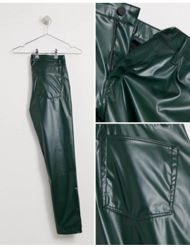 Asos Design Skinny Coated Leather Look Jeans In Green by Asos Design