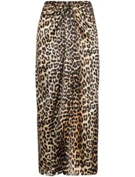 Leopard Print Tie Midi Skirt by Ganni