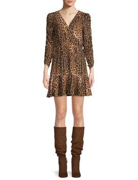 Scoop Ruched Sleeve Ruffle Faux Wrap Mini Dress Leopard Print Women's by Scoop
