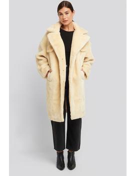 Long Teddy Fur Jacket Vit by Na Kd Trend