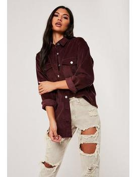 Purple Cord Super Oversized Shirt by Missguided