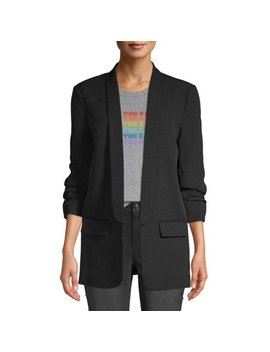 Scoop Scrunch Sleeve Shawl Collar Boyfriend Blazer Women's by Scoop