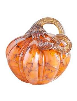 Orange & Brown Petite Glass Pumpkin by Pier1 Imports
