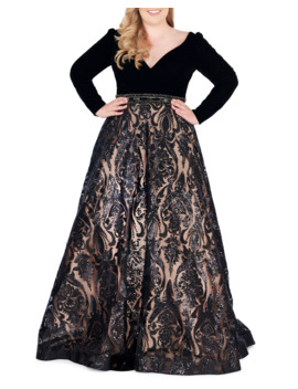 Plus Size Velvet Plunge Neck Long Sleeve Ball Gown With Sequined Skirt by Mac Duggal