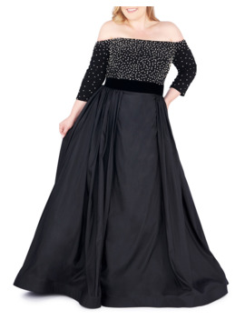 Plus Size Off The Shoulder 3/4 Sleeve Gown W/ Jersey Bodice by Mac Duggal