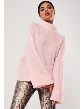 Blush Funnel Neck Turn Up Sleeve Jumper by Missguided