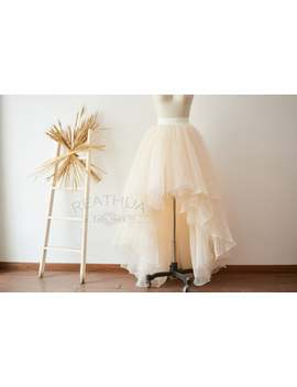 Champagne Organza Tulle Hi Low Asymmetrical Bridal Wedding Bridesmaid Skirt/Prom Party Skirt/Costume Tulle Skirt by Etsy