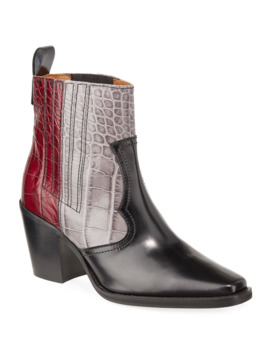 Tri Color Croc Embossed Leather Western Boots by Ganni