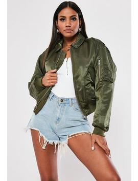 Tall Khaki Padded Utility Bomber Jacket by Missguided