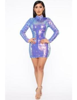 Disco Doll Sequin Mini Dress   Purple/Combo by Fashion Nova