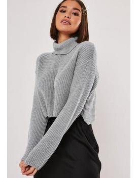Grey Roll Neck Cropped Knitted Jumper by Missguided