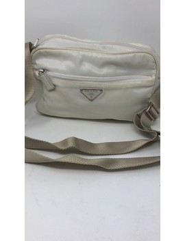 Tissuto White Fabric Cross Body Bag by Prada