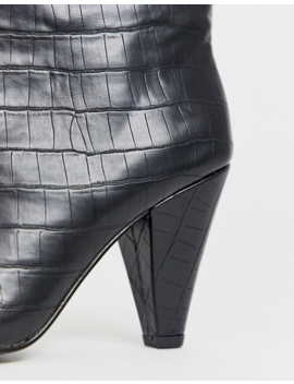 Asos Design Experiment Pull On Boots In Black Croc by Asos Design