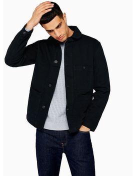 Selected Homme Navy Charles Organic Cotton Worker Jacket by Topman