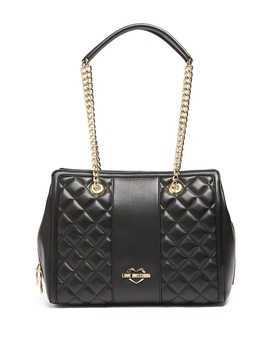Borsa Quilted Dual Partial Chain Handbag by Love Moschino