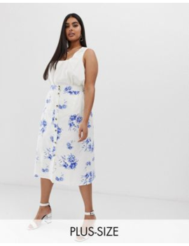 Neon Rose Plus Button Down Midi Skirt In Floral by Neon Rose
