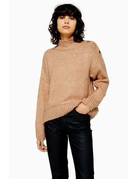 Knitted Button Shoulder Jumper by Topshop