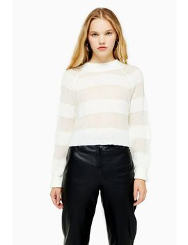 Knitted Gauzy Stripe Cropped Jumper by Topshop