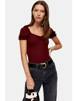 Burgundy Short Sleeve Ruched T Shirt by Topshop