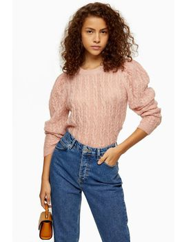 Pink Gauzy Cable Crew Neck Jumper by Topshop