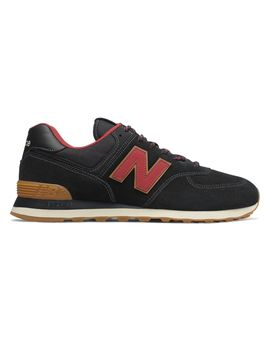 New Balance Men's 574 Shoes Black With Red 11.5 D by New Balance