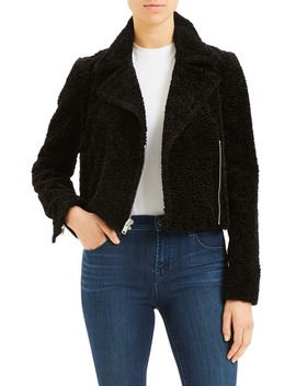 Crop Faux Fur Moto Jacket by Theory