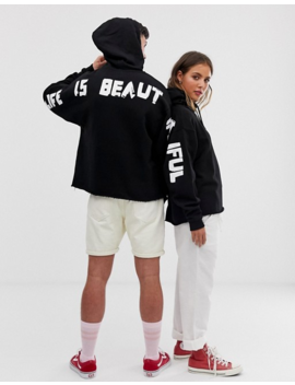 Life Is Beautiful Unisex Cropped Printed Hoodie by Life Is Beautiful