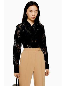 Premium Black Lace Shirt by Topshop