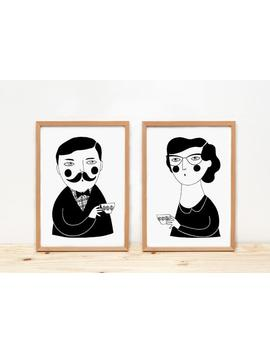 Ilustration, Prints, Depeapa, Home Decor, Tea, Coffee, Home Decor, Wall Decor   The Tea Hour   by Etsy