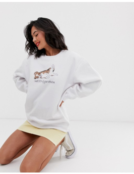 Daisy Street 'i Need 100% Of Your Attention' Oversized Sweater With Dog Graphic In White by Daisy Street