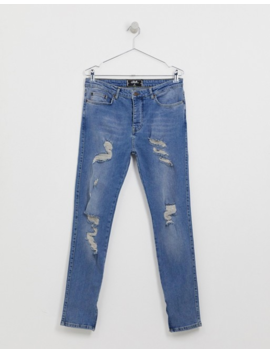 Sik Silk Skinny Jeans In Light Blue With Distressing by Sik Silk