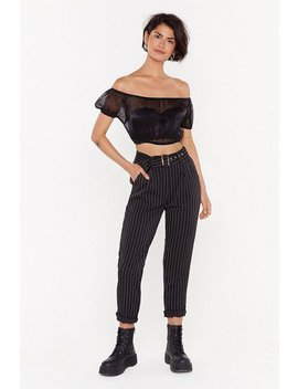 Line Waits For No One Pinstripe Tapered Trousers by Nasty Gal