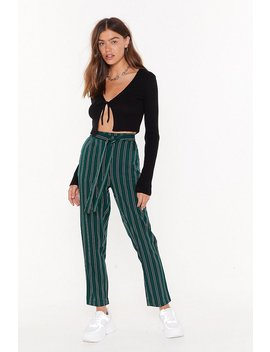 We're The Jealous Pinstripe Tapered Trousers by Nasty Gal