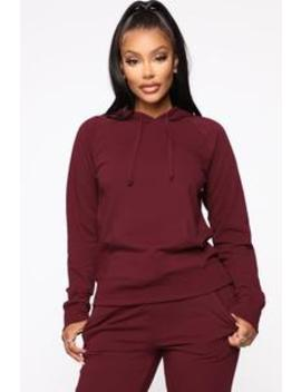 Latest And Greatest French Terry Hoodie   Burgundy by Fashion Nova