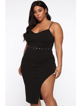 Don't Mention His Ex Belted Midi Dress   Black by Fashion Nova