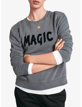 Hush Magic Slogan Cotton Sweat Top, Dark Shadow/Black by Hush
