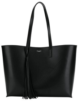 Monogram Shopping Bag Black Calfskin Leather Tote by Saint Laurent