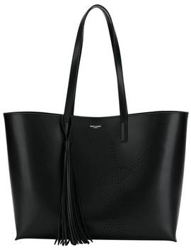 Monogram Shopping Bag Black Calfskin Leather Tote by Saint Laurent